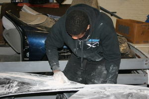 Almost four months ago, Daniel Moore sanding the frame of the GTM.