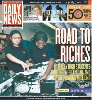 Cover of the Philadelphia Daily News featuring Momo Shen and Shanea Chellis - 11/12/2009