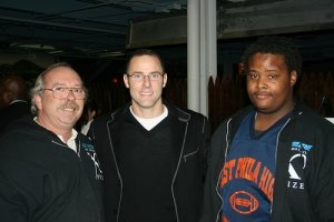 Michael Glover with Ron Preiss and Philadelphia Eagle kicker David Akers